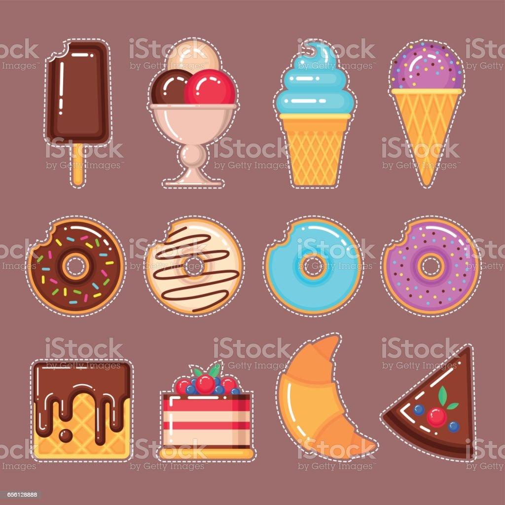 set of sweet food vector art illustration