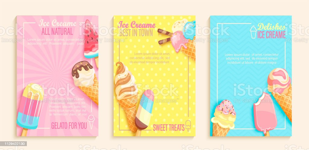 Set of sweet ice cream shops flyers - arte vettoriale royalty-free di Anguria