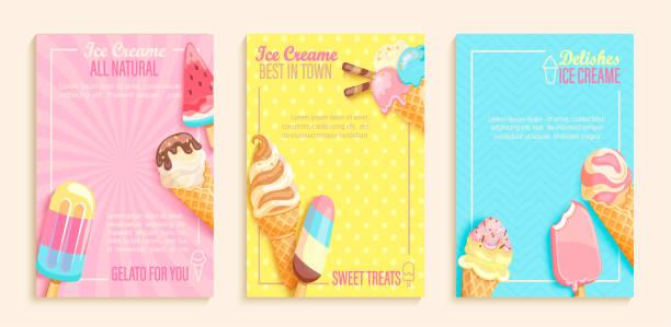 ilustrações de stock, clip art, desenhos animados e ícones de set of sweet ice cream shops flyers - ice cream