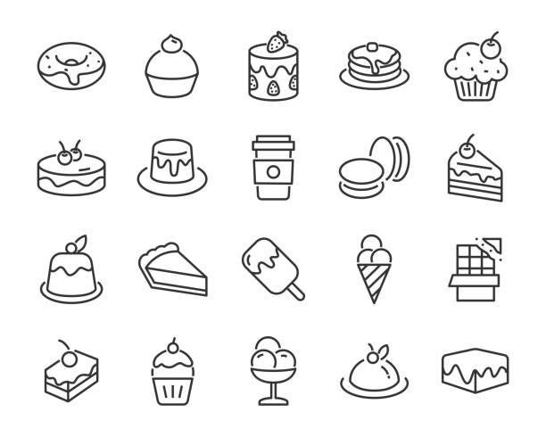 bildbanksillustrationer, clip art samt tecknat material och ikoner med uppsättning pudding, pannkaka, söta ikoner, såsom kaffe, tårta, dessert, choklad, bageri - brownie