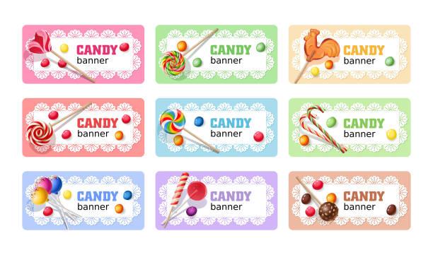 Set of sweet lollipop vector banners. Set of sweet lollipop vector banners, headers. candy borders stock illustrations