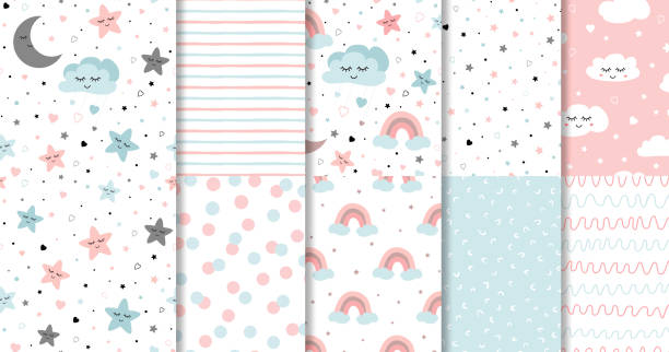 set of sweet pink seamless pattern sleeping cloud moon stars background collection baby girl fabric design vector - cute stock illustrations