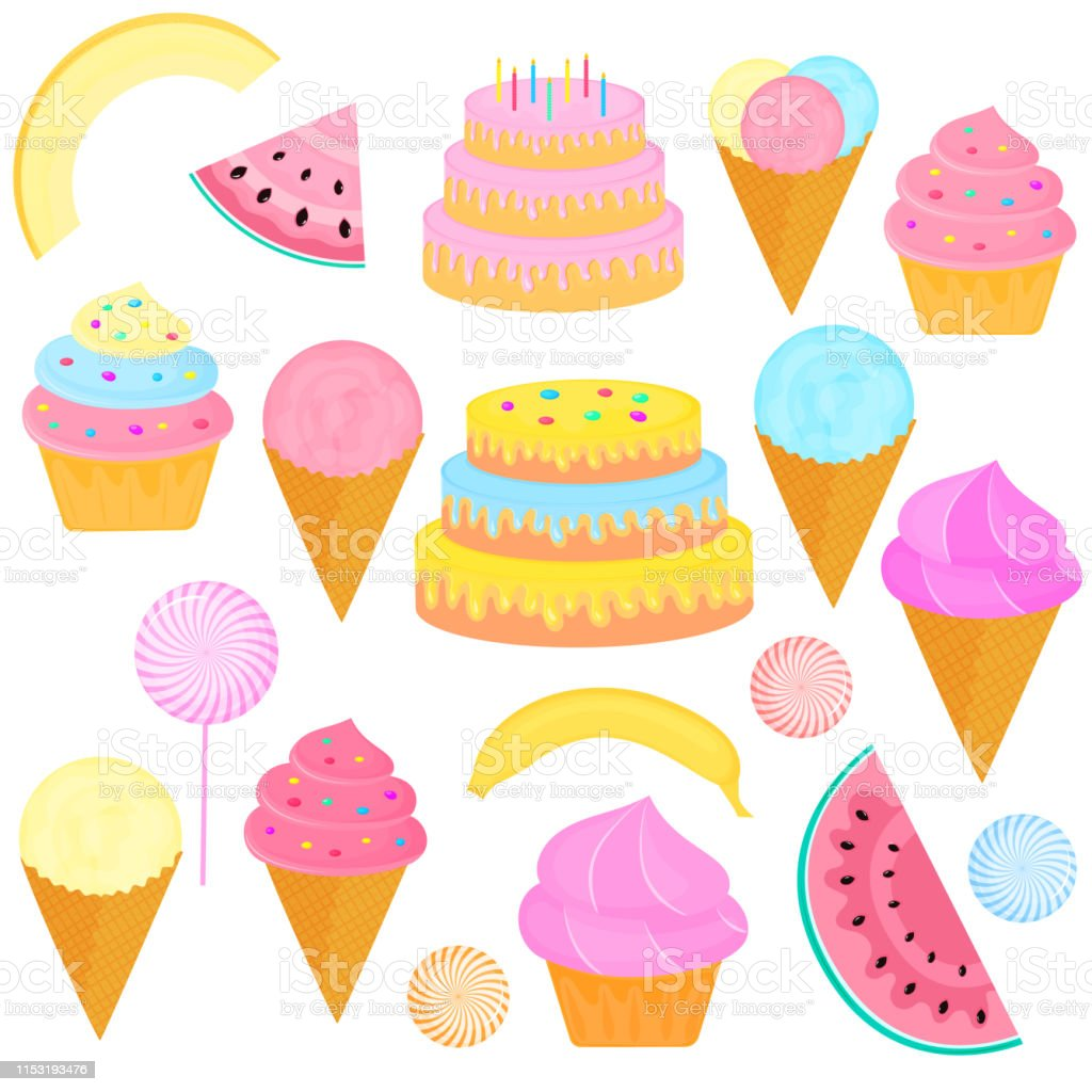 Incredible A Set Of Sweet Treats Birthday Cake With Candles Icecream In A Birthday Cards Printable Benkemecafe Filternl