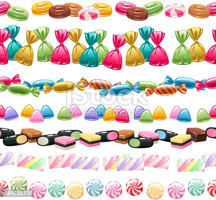 Set of sweets borders. Assorted candies