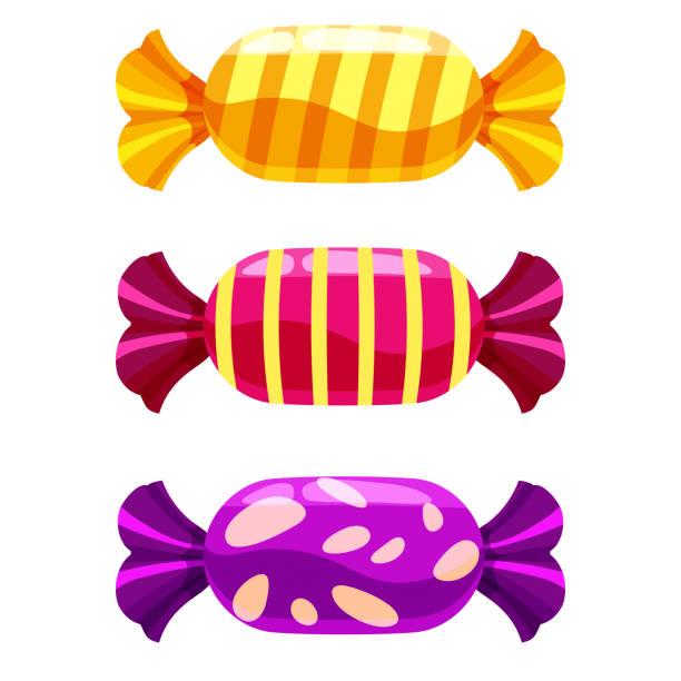 stockillustraties, clipart, cartoons en iconen met set van snoep candy op witte achtergrond. vectorillustratie. geïsoleerd - snoep