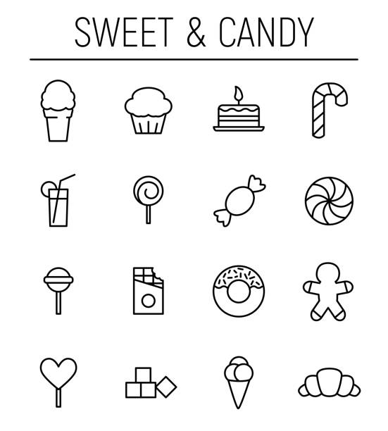 Set of sweets icons in modern thin line style. Set of sweets icons in modern thin line style. High quality black outline candy symbols for web site design and mobile apps. Simple linear sweets pictograms on a white background. candy icons stock illustrations