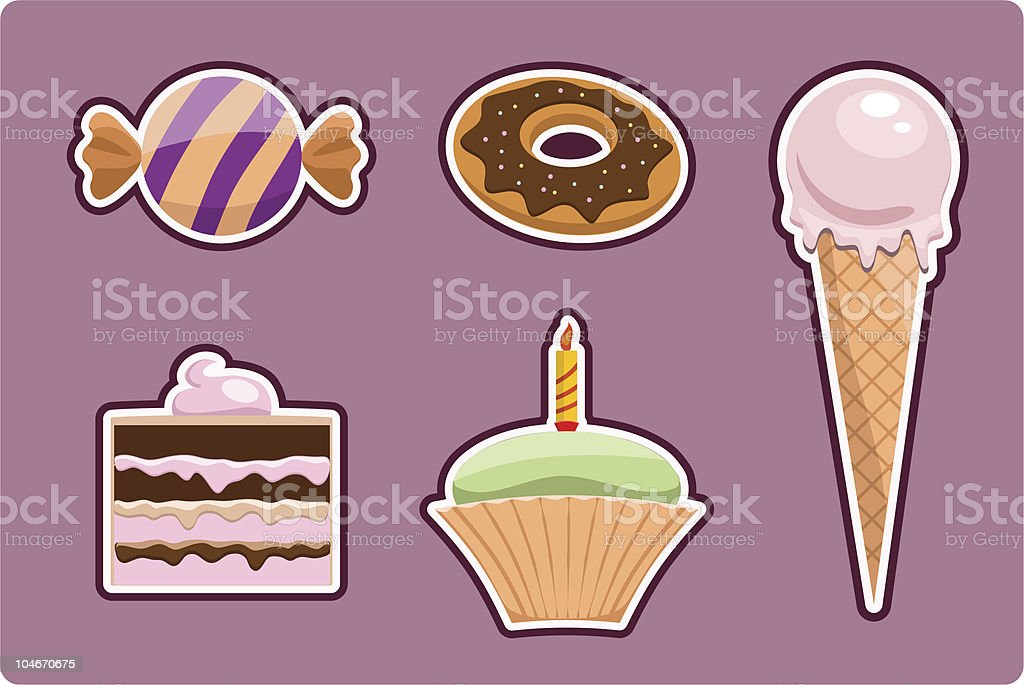set of sweets vector art illustration