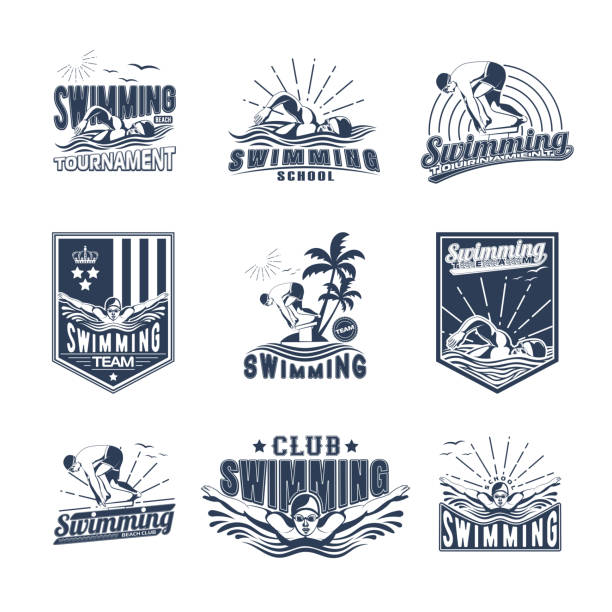 Set of swimming badges for print on T-shirts, printed products and publications on the Internet. Vector illustration vector art illustration
