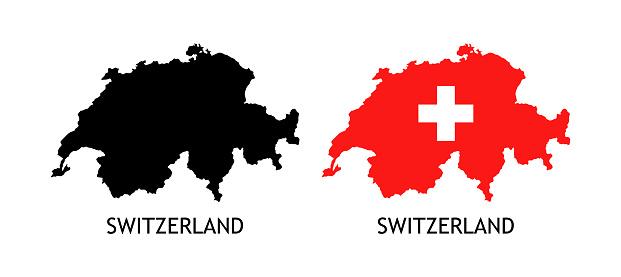 Set of Switzerland Silhouettes icon on white
