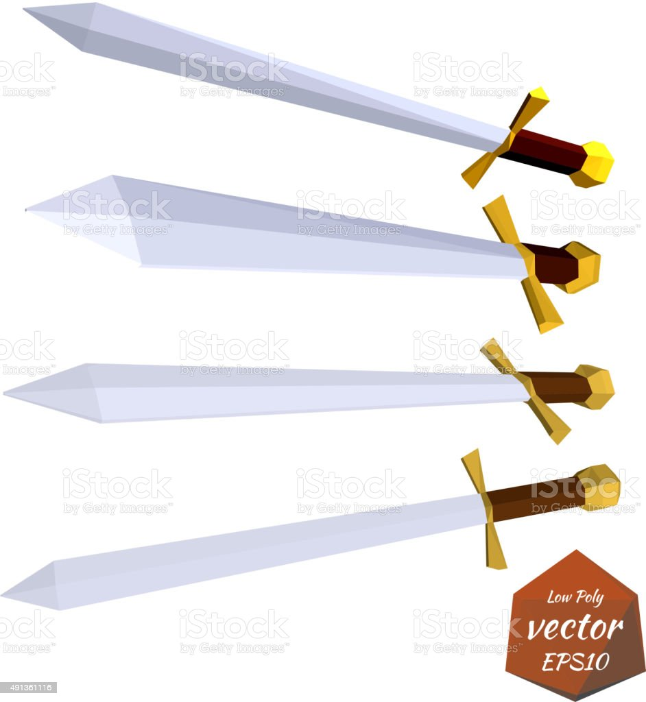 Set Of Swords Isolated On White Backgroundlow Poly Stylevector Stock Origami Sword An Style Computer Pirate Criminal Sign Warning