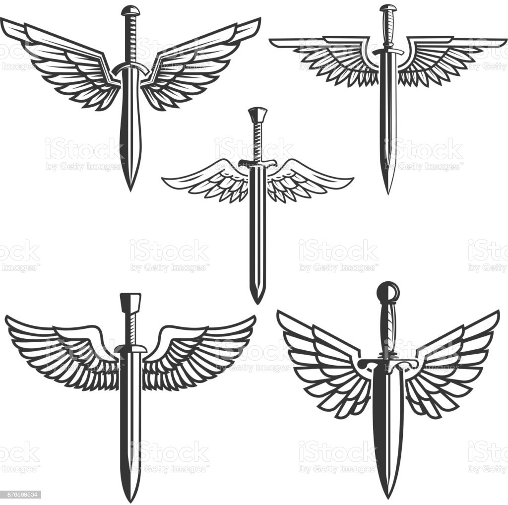 set of swords with wings design elements for label emblem sign Transparent Wings set of swords with wings design elements for label emblem sign vector