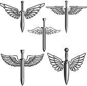 Set of swords with wings. Design elements for label, emblem, sign. Vector illustration