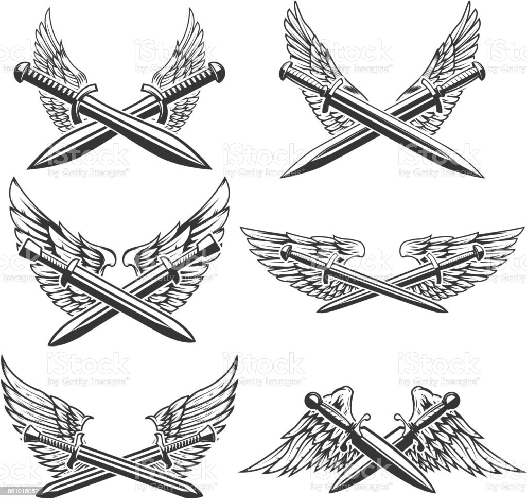 set of swords with wings design elements for label emblem sign Wings Coloring Pages set of swords with wings design elements for label emblem sign vector