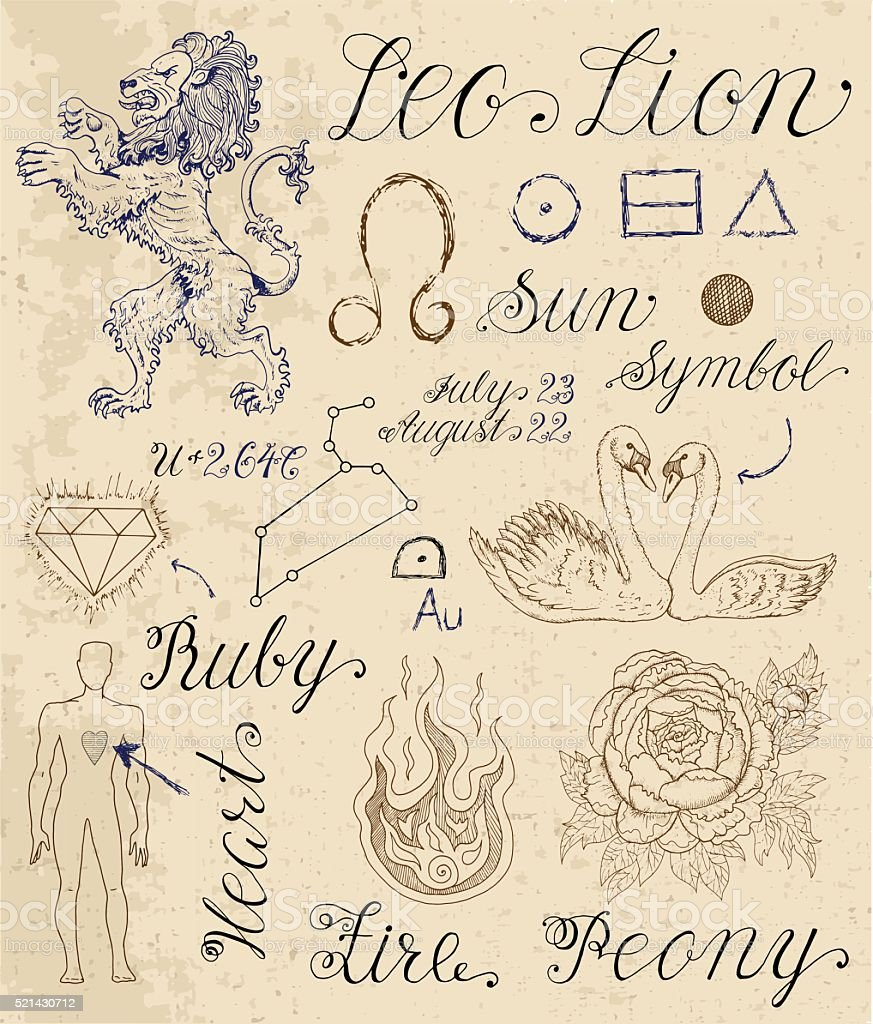 Set of symbols for zodiac sign leo or lion stock vector art more set of symbols for zodiac sign leo or lion royalty free set of symbols for biocorpaavc