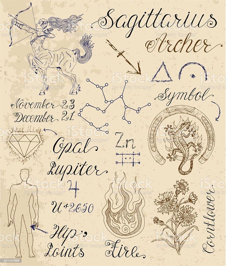 Set Of Symbols For Zodiac Sign Sagittarius Or Archer Stock Vector