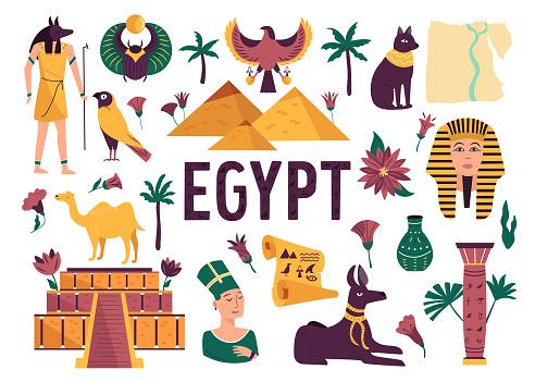 Set of symbols, landmarks, objects of ancient Egypt. Vector illustration