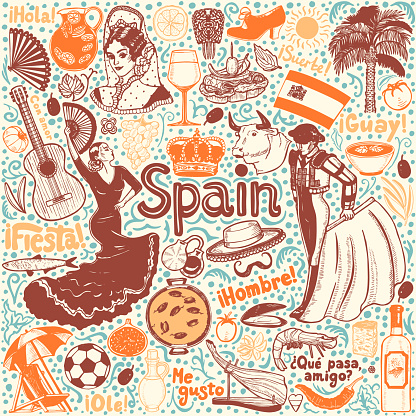 Set of Symbols of Spain in Hand-Drawn Style