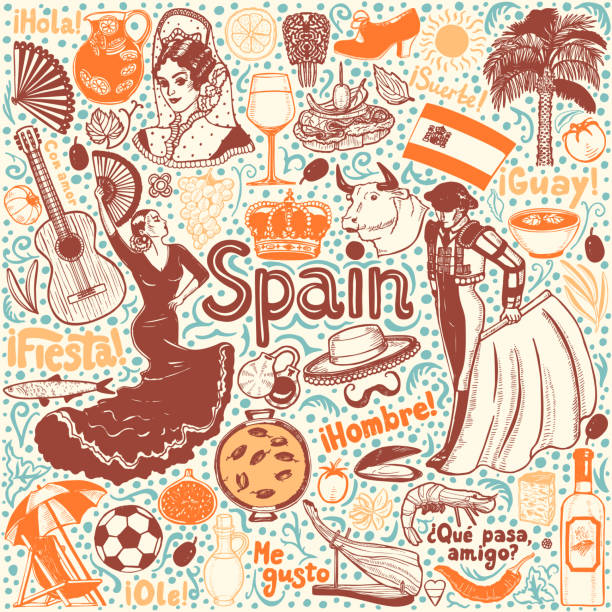 satz von symbolen von spanien im handgezeichneten stil - spanien stock-grafiken, -clipart, -cartoons und -symbole