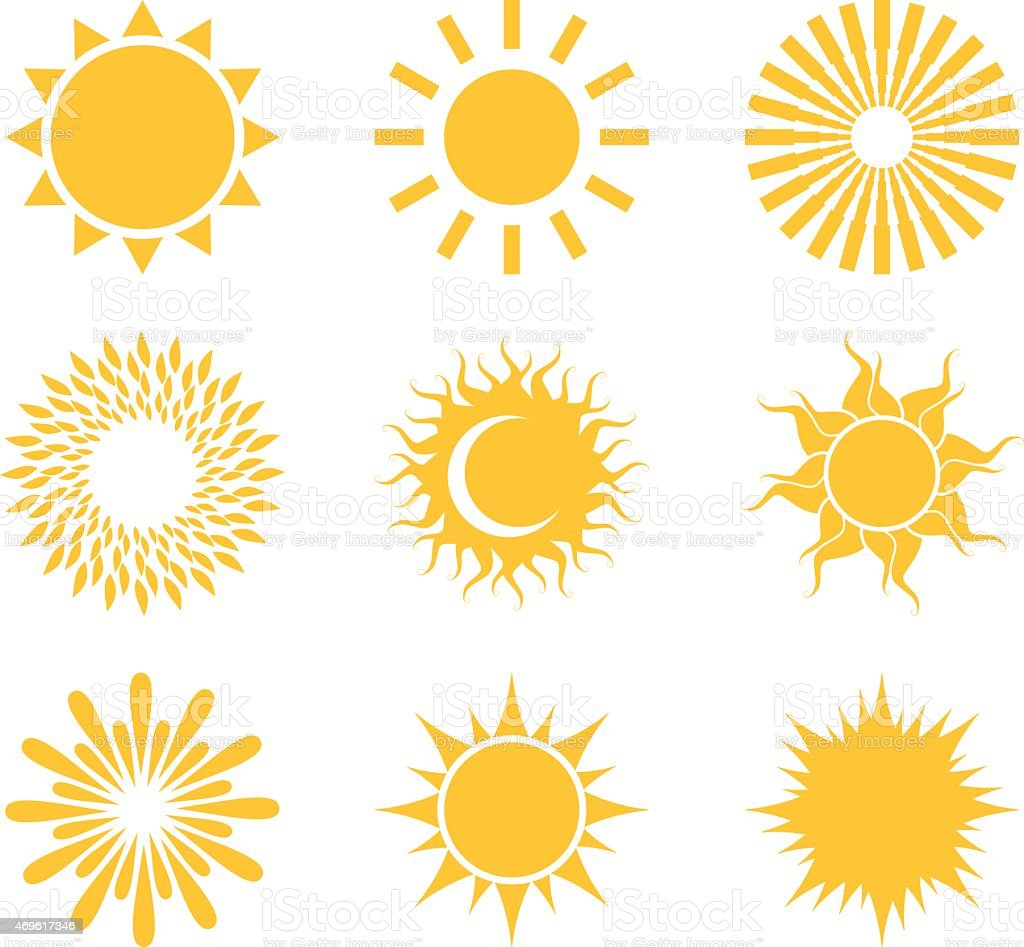 Set of symbols of the sun. vector art illustration