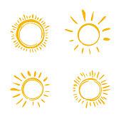 Set of symbols of the sun.