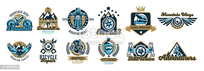 Set of symbols on the mountain bike and downhill. Helmet, sunglasses, camera, eagle, fly, wings, parts, rider, landscape, crown, repair, spare parts, maintenance, service, business. Vector illustration.