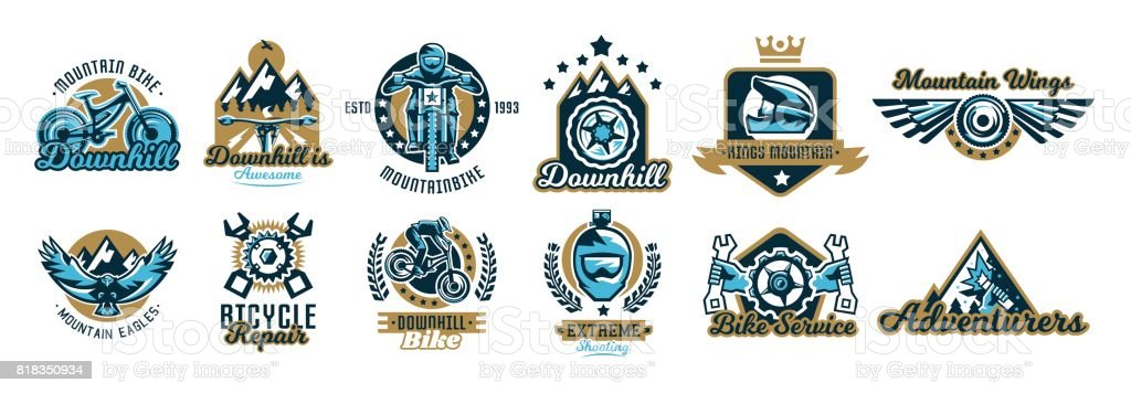 Set of symbols on the mountain bike and downhill. Helmet, sunglasses, camera, eagle, fly, wings, parts, rider, landscape, crown, repair, spare parts, maintenance, service, business. Vector illustration. vector art illustration
