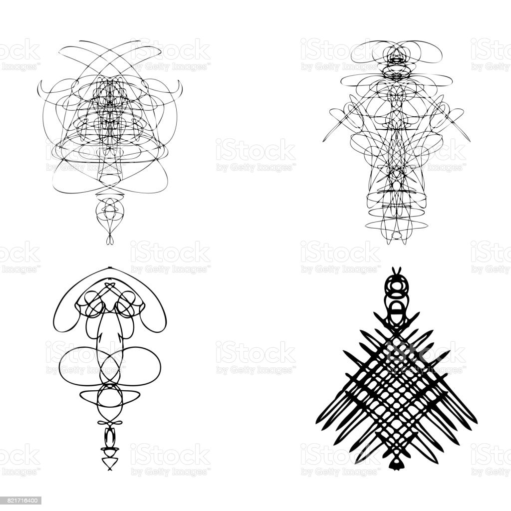 Set Of Symmetrical Graphic Design Elements Abstract Geometric Hand