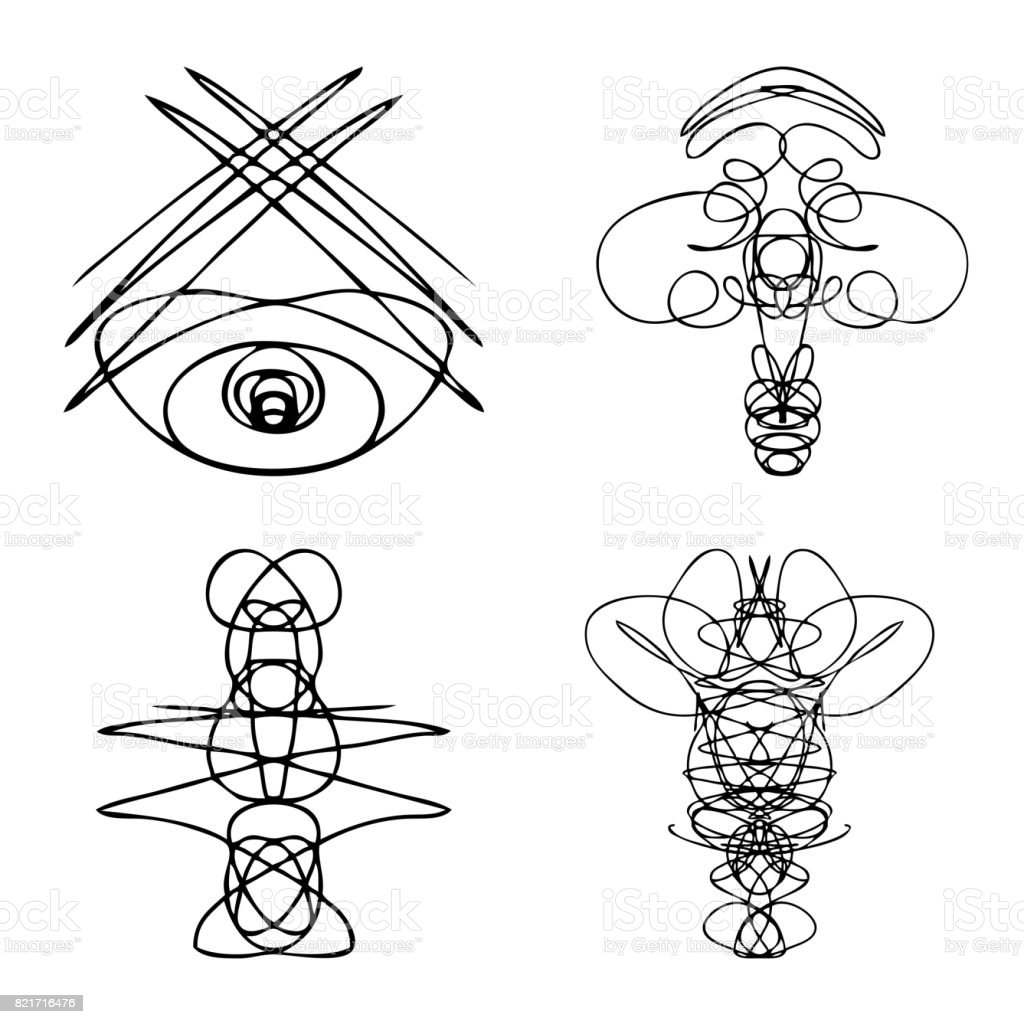 Set of symmetrical graphic design elements abstract geometric hand set of symmetrical graphic design elements abstract geometric hand drawn symbols styles shapes occultism biocorpaavc