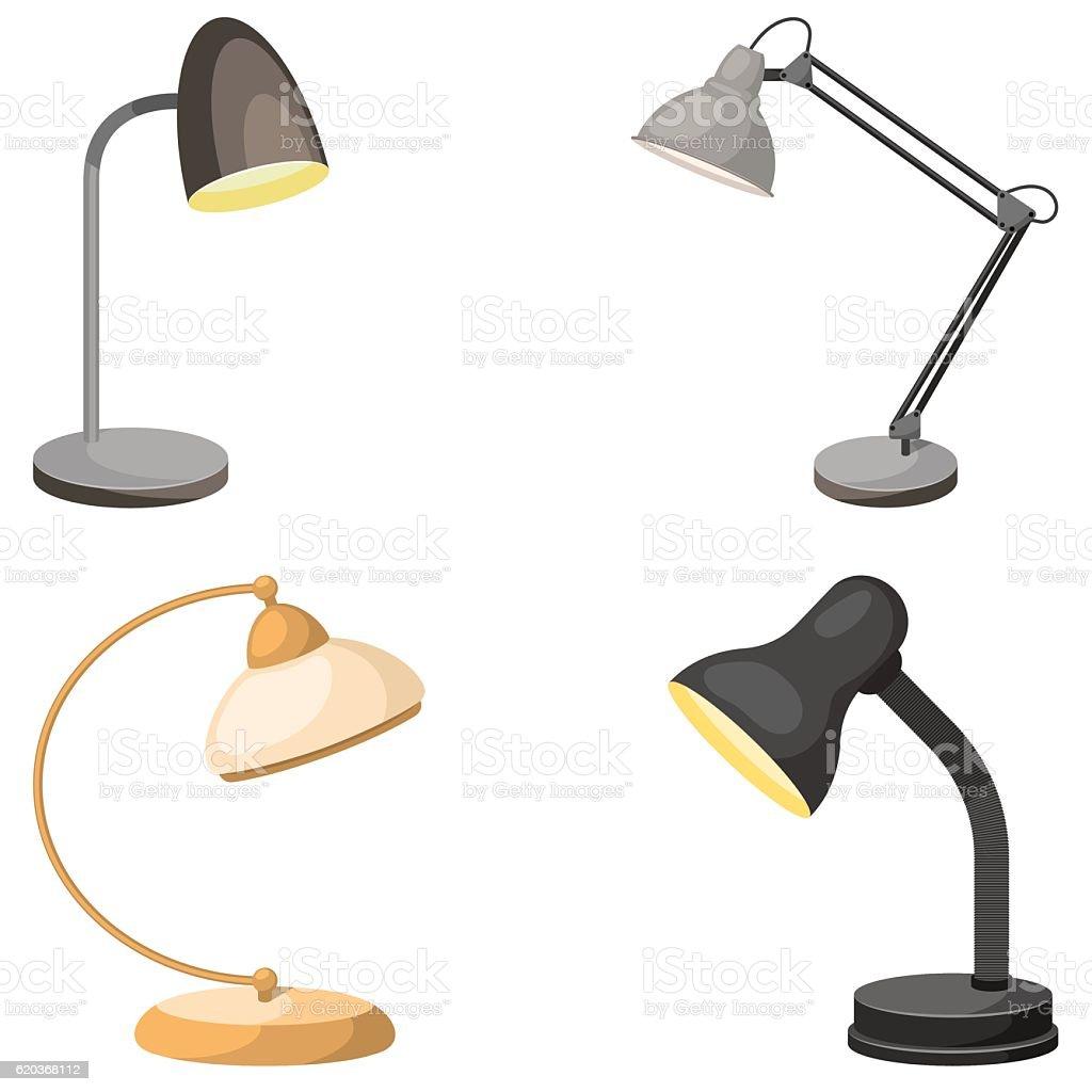 Zestaw Lampy stołowe zestaw lampy stołowe - stockowe grafiki wektorowe i więcej obrazów bez ludzi royalty-free