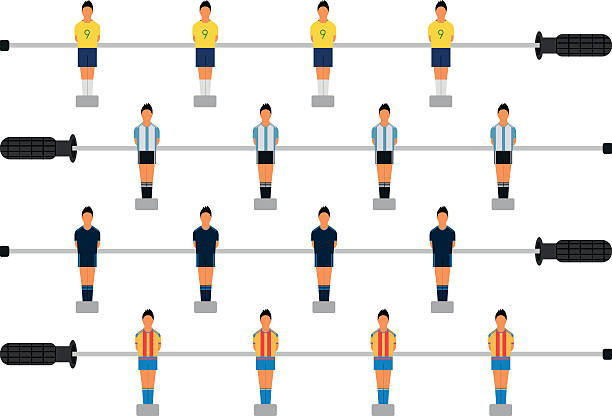 Set of table soccer players. - ilustración de arte vectorial