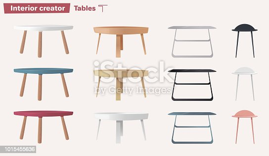 Set of tables. Cartoon vector illustration. Coffee and side tables. Design of interior.