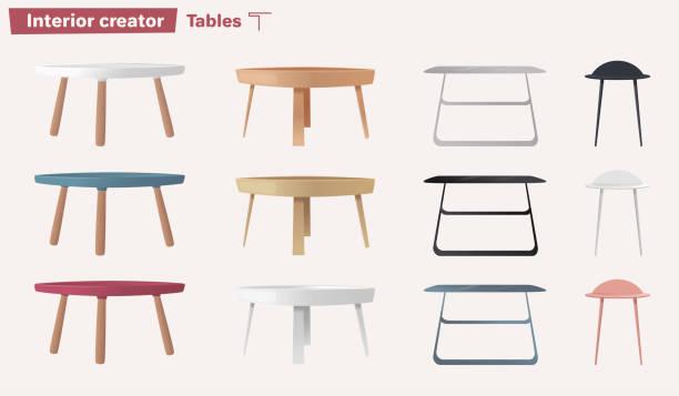 ilustrações de stock, clip art, desenhos animados e ícones de set of tables. cartoon vector illustration - coffee table