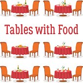 Set of Tables with Food