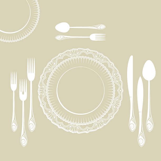 stockillustraties, clipart, cartoons en iconen met set of tableware on white background - gedekte tafel