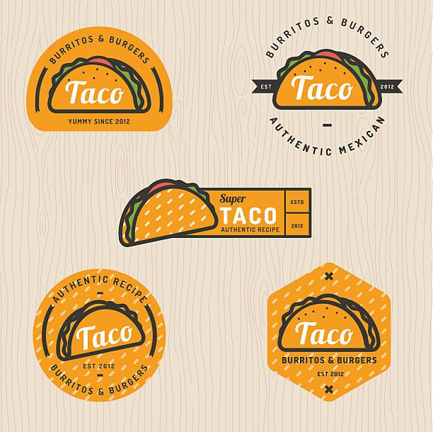 set of taco logo, badges, banners, emblem for restaurant. - taco stock illustrations, clip art, cartoons, & icons