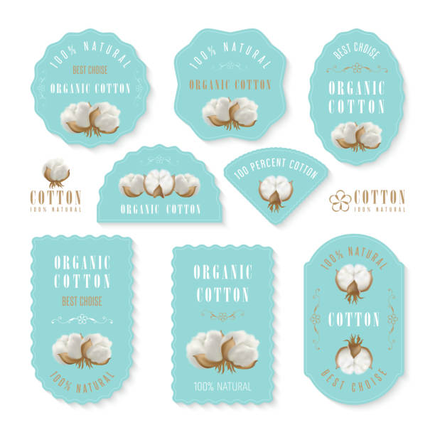 set of tags and logo for cotton manufacture - cotton stock illustrations, clip art, cartoons, & icons