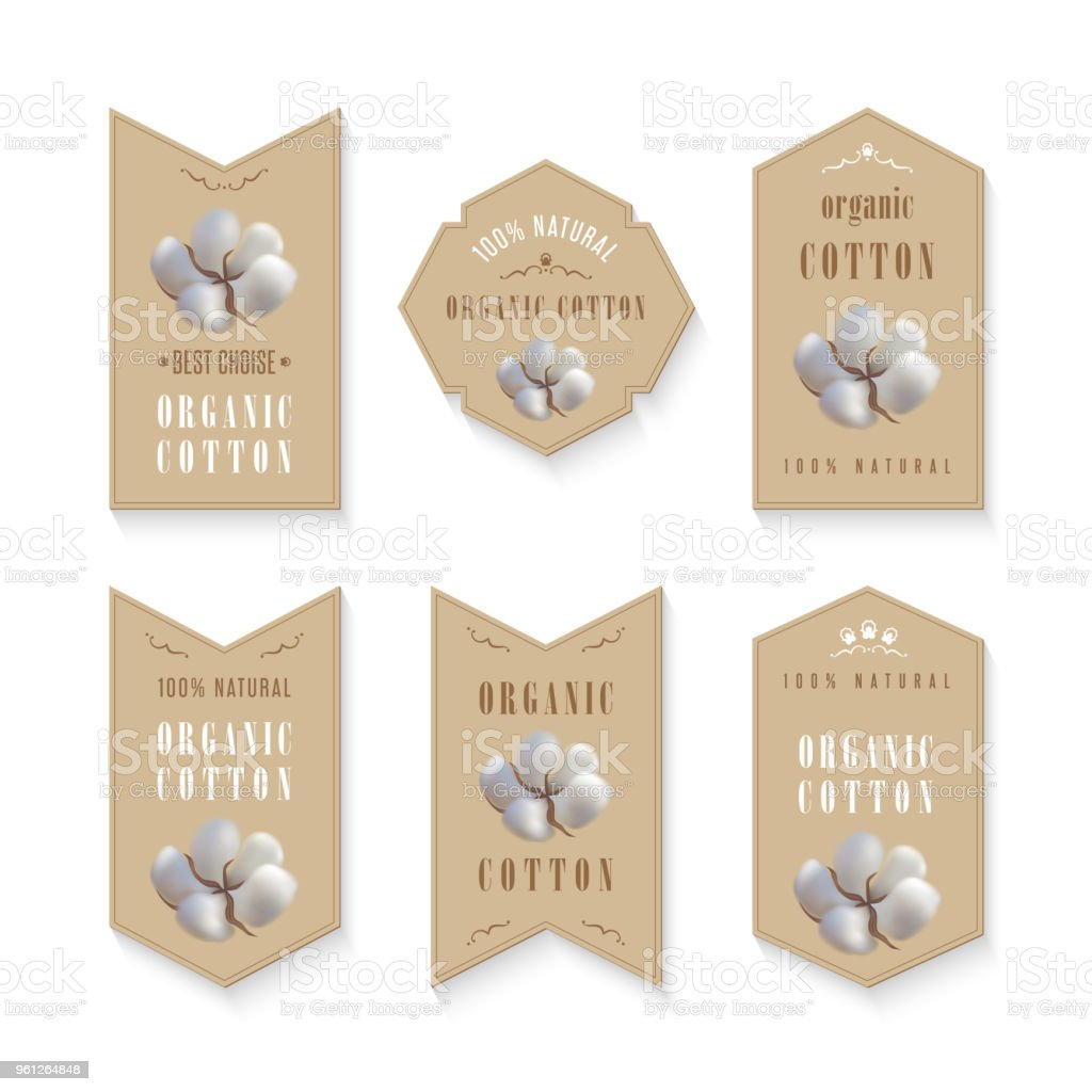 set of tags for cotton manufacture vector art illustration