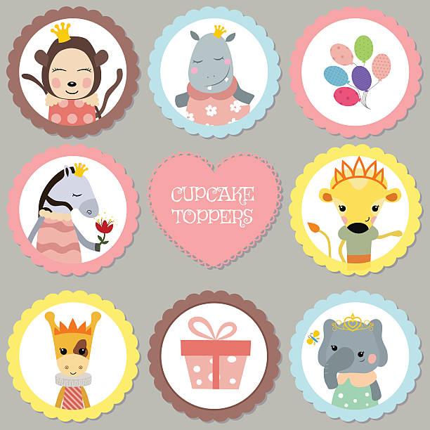 satz von tags mit princess thema. - giraffenkostüm stock-grafiken, -clipart, -cartoons und -symbole