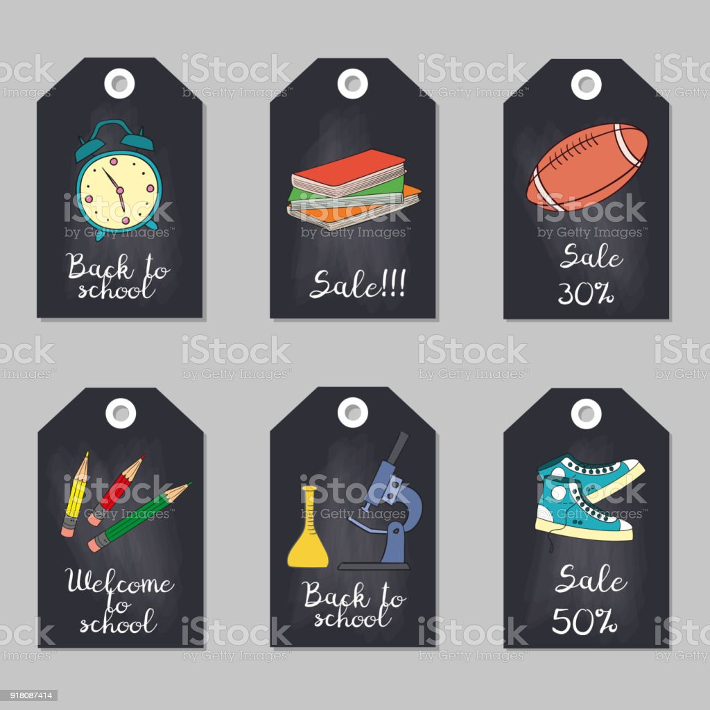 Set Of Tags With School Supplies Stock Vector Art & More