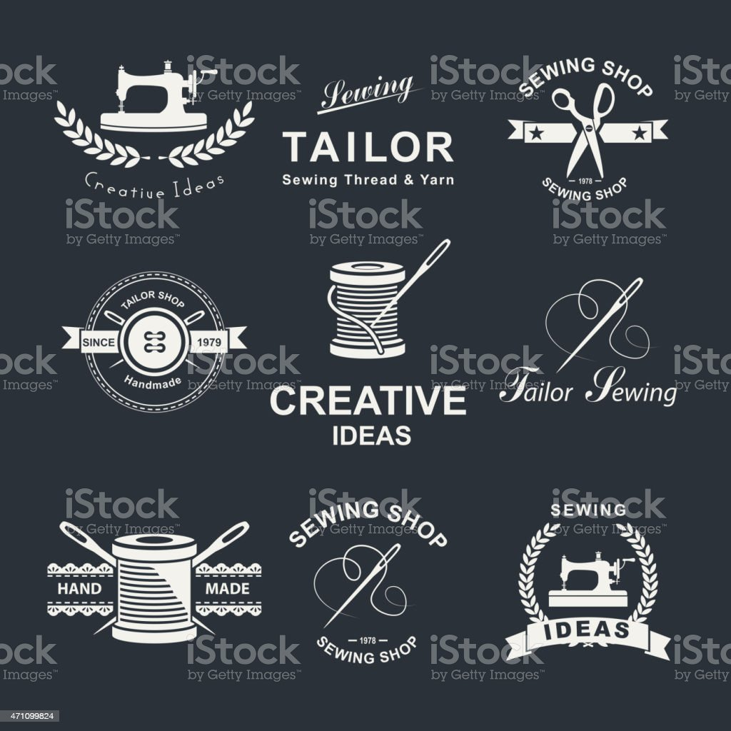 Set of Tailor shop element emblems vector art illustration