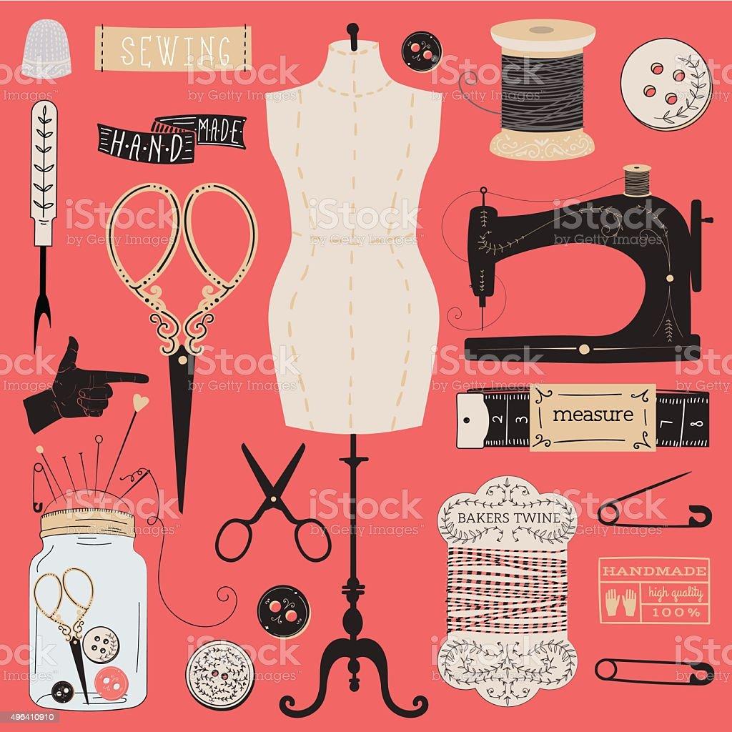 Ensemble de tailleur outils, étiquettes, emblèmes et des éléments de design. - Illustration vectorielle