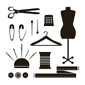 Set of  tailor tools silhouette. Vector sewing items collection