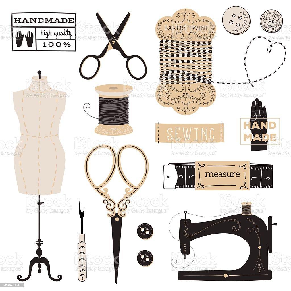 Set of tailor's tools vector art illustration