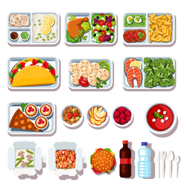 illustrazioni stock, clip art, cartoni animati e icone di tendenza di set of takeaway meals. prepped food on disposable plates. flat isolated vector - piatto stoviglie