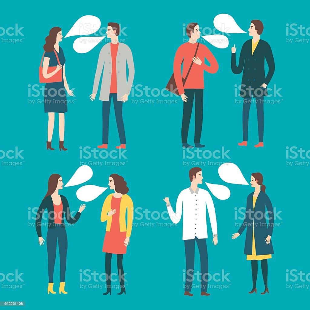 Set of talking cartoon people in various lifestyles vector art illustration