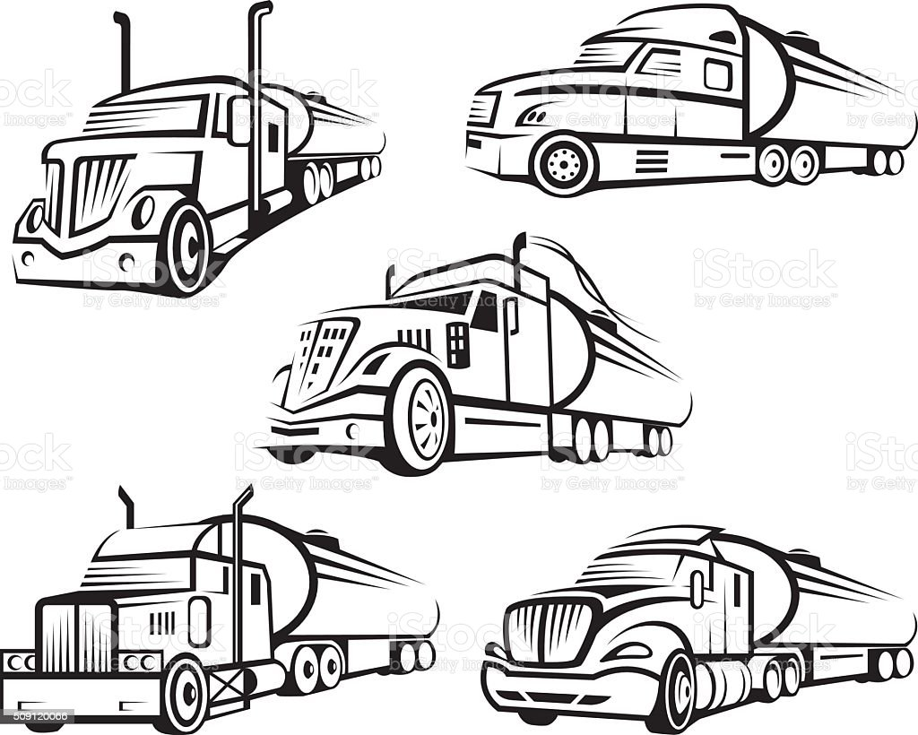 set of tank truck vector art illustration