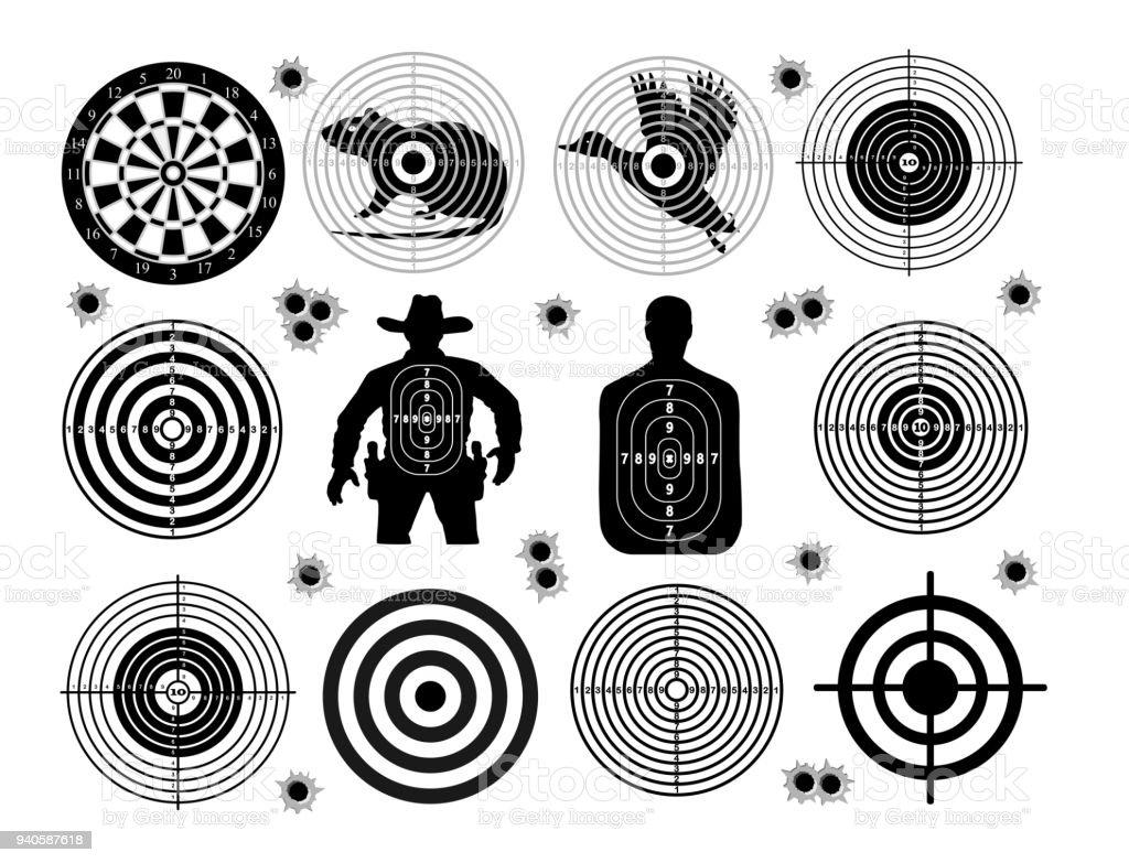 Set of targets shoot gun aim animals people man isolated. Sport Practice Training. Sight, bullet holes. Targets for shooting. Darts board, archery. vector illustration. vector art illustration
