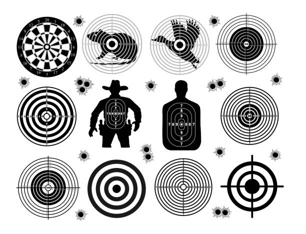 Set of targets shoot gun aim animals people man isolated. Sport Practice Training. Sight, bullet holes. Targets for shooting. Darts board, archery. vector illustration. Set of targets shoot gun aim animals people man isolated. Sport Practice Training. Sight, bullet holes. Targets for shooting. Darts board, archery. vector illustration. gun stock illustrations