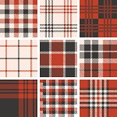 set of tartan seamless pattern, vintage style set 1