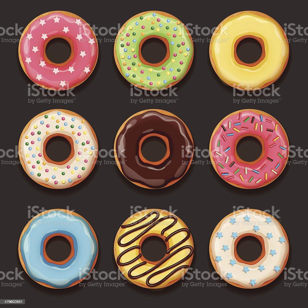 Set of tasty donuts vector art illustration